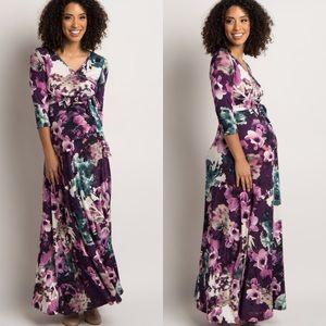 Pinkblush Maternity + Nursing Purple Floral Maxi